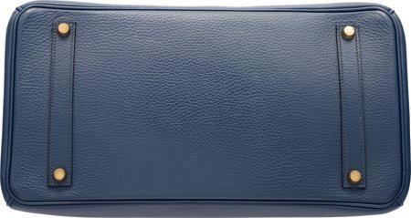 58221: Hermes 35cm Blue Marine Ardennes Leather Birkin  - 4