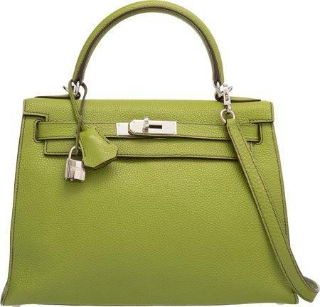 58147: Hermes 28cm Vert Anis Togo Leather Sellier Mou K