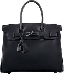58435: Hermes Limited Edition 30cm So Black Calf Box Le