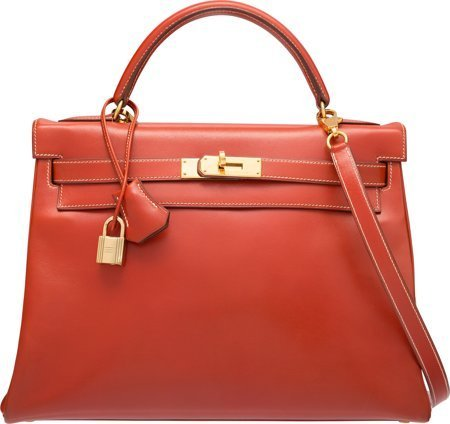 58360: Hermes 32cm Brick Calf Box Leather Retourne Kell