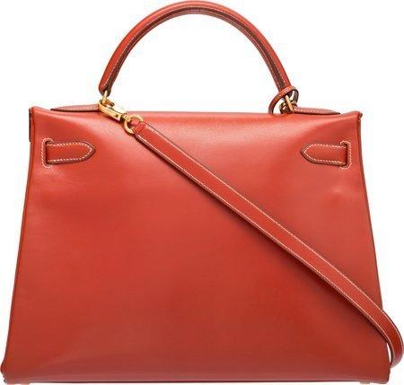 58360: Hermes 32cm Brick Calf Box Leather Retourne Kell - 2
