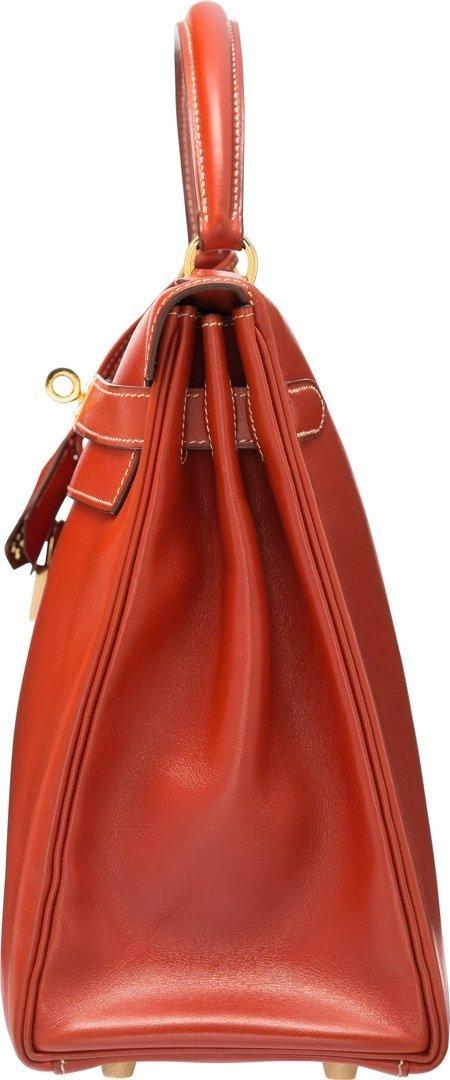 58360: Hermes 32cm Brick Calf Box Leather Retourne Kell - 3