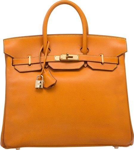 58370: Hermes 32cm Natural Peau Porc Leather HAC Birkin