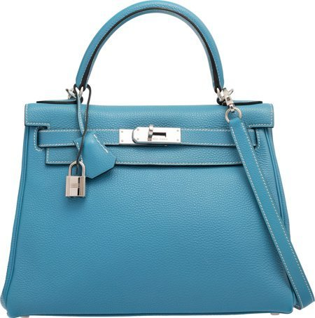 58188: Hermes 28cm Blue Jean Togo Leather Retourne Kell