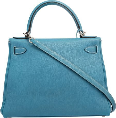 58188: Hermes 28cm Blue Jean Togo Leather Retourne Kell - 2