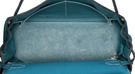 58188: Hermes 28cm Blue Jean Togo Leather Retourne Kell - 5