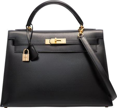 58467: Hermes 32cm Black Calf Box Leather Sellier Kelly