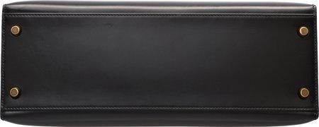 58467: Hermes 32cm Black Calf Box Leather Sellier Kelly - 4