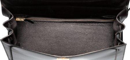 58467: Hermes 32cm Black Calf Box Leather Sellier Kelly - 5