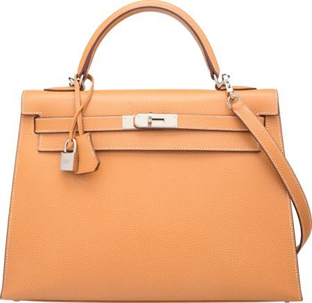 58374: Hermes 32cm Natural Vache Liegee Leather Sellier
