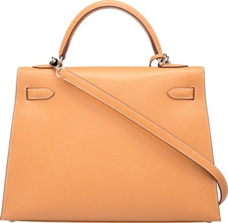 58374: Hermes 32cm Natural Vache Liegee Leather Sellier - 2
