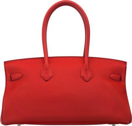 58293: Hermes 42cm Rouge Vif Clemence Leather JPG Shoul - 2