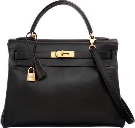 58486: Hermes 32cm Black Calf Box Leather Retourne Kell