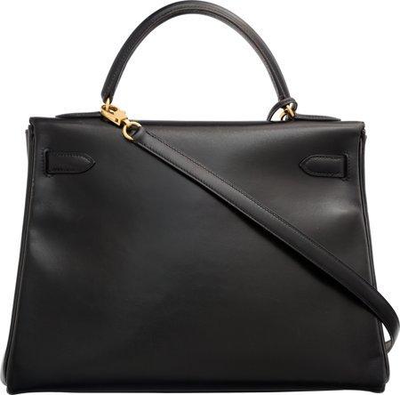 58486: Hermes 32cm Black Calf Box Leather Retourne Kell - 2