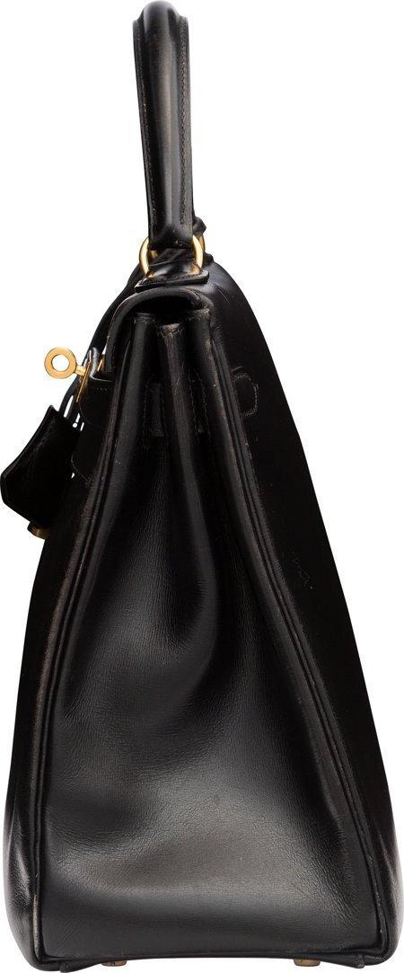 58486: Hermes 32cm Black Calf Box Leather Retourne Kell - 3