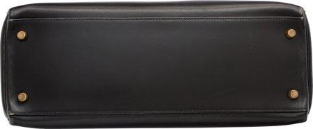 58486: Hermes 32cm Black Calf Box Leather Retourne Kell - 4