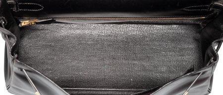 58486: Hermes 32cm Black Calf Box Leather Retourne Kell - 5