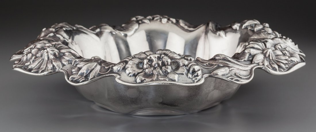 74387: A Dominick & Haff Silver Center Bowl with Lotus