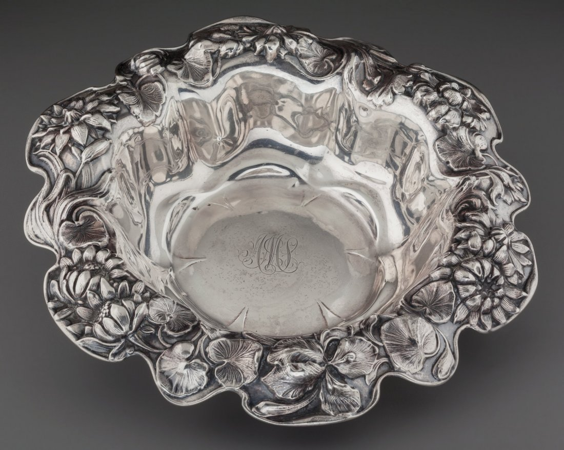 74387: A Dominick & Haff Silver Center Bowl with Lotus  - 2