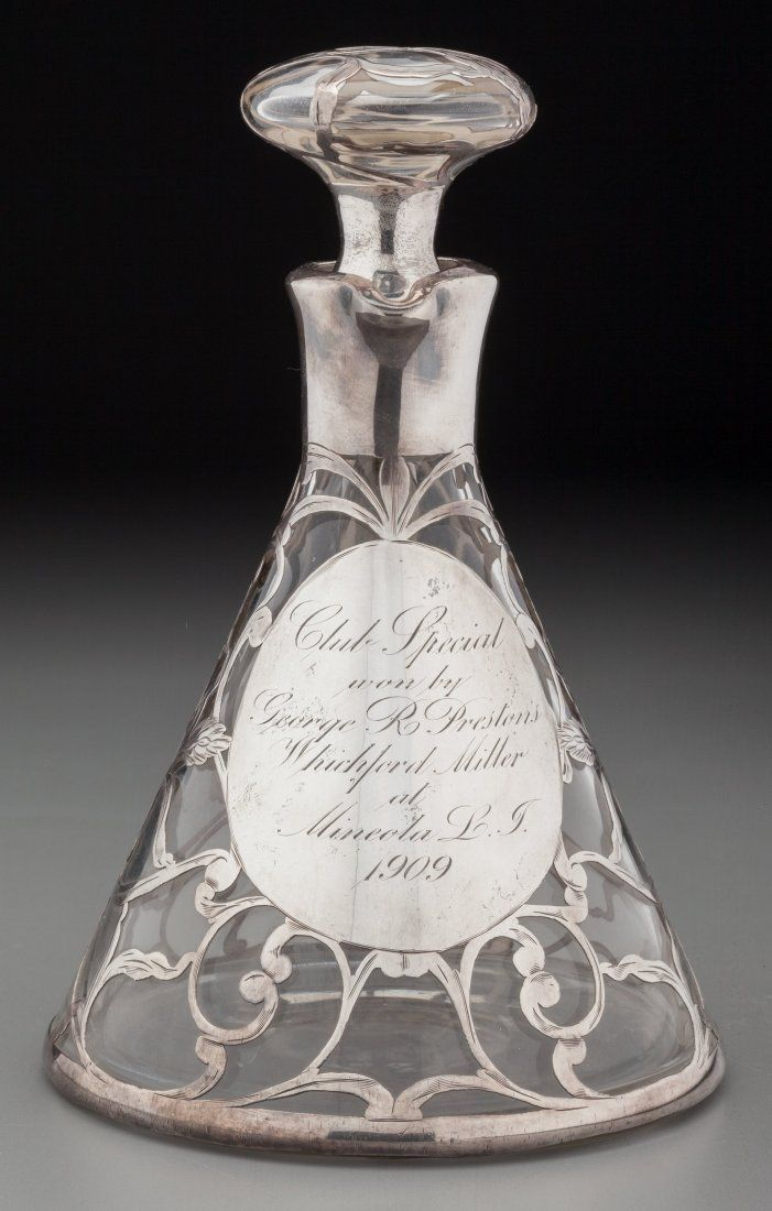 A Matthews Co. Silver Overlay Clear Glass Trophy