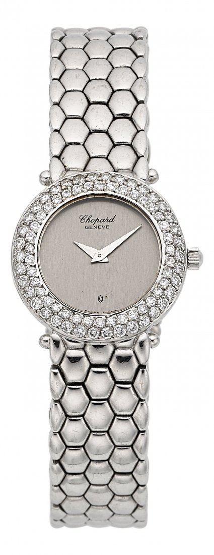 54002: Chopard 18k White Gold & Diamond Bracelet Watch