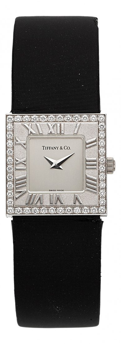 54003: Tiffany & Co. Atlas Diamond & 18k White Gold Lad