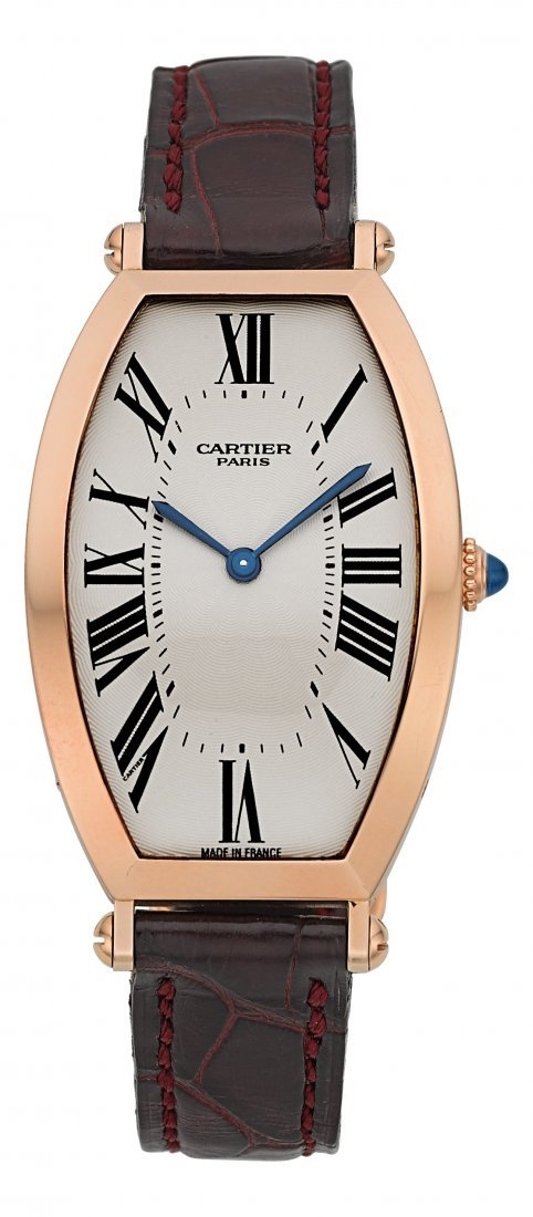 54004: Cartier Very Fine Pink Gold Tonneau Mécanique La