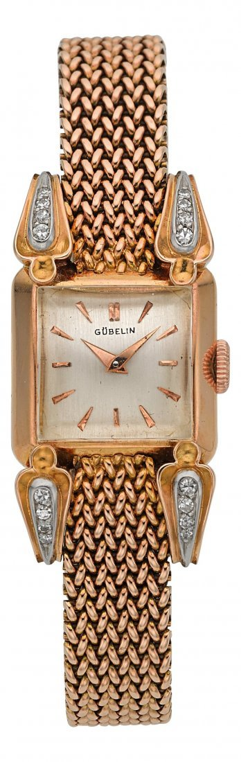 54005: Gubelin Lady's Gold Wristwatch With Diamond Lugs