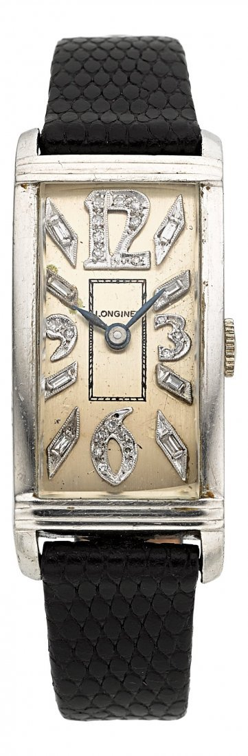 54010: Longines Platinum Diamond Dial Wristwatch  Case: