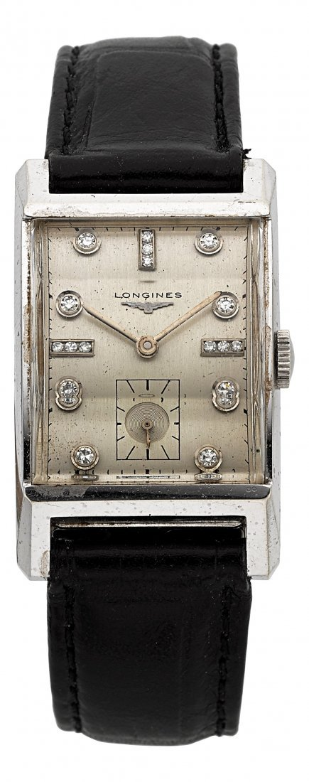 54011: Longines 14k Diamond Dial Vintage Wristwatch  Ca