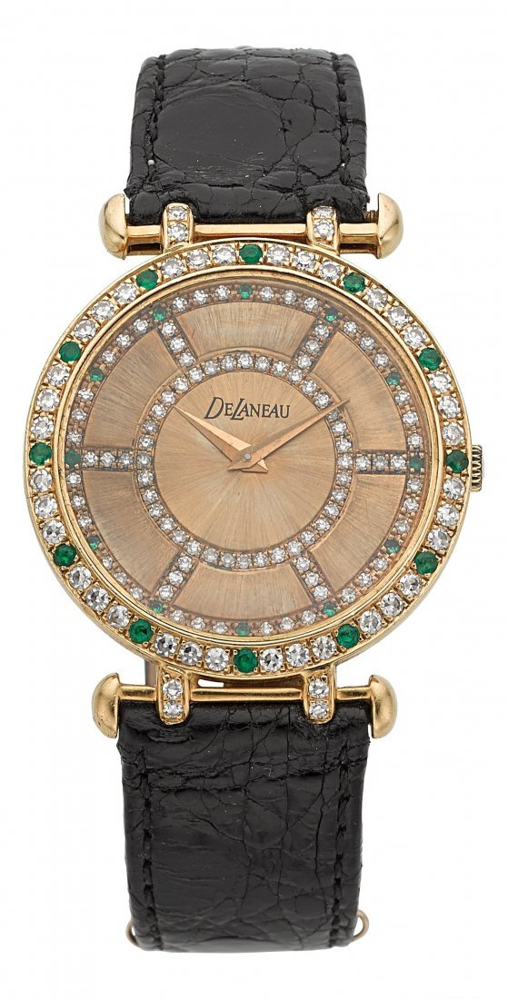 54013: DeLaneau For Kutchinsky, 18k Gold, Emerald, & Di