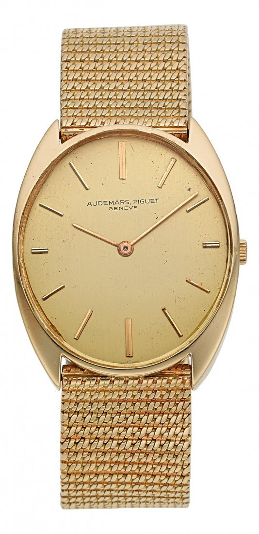 54014: Audemars Piguet 18k Gold Tonneau Wristwatch With