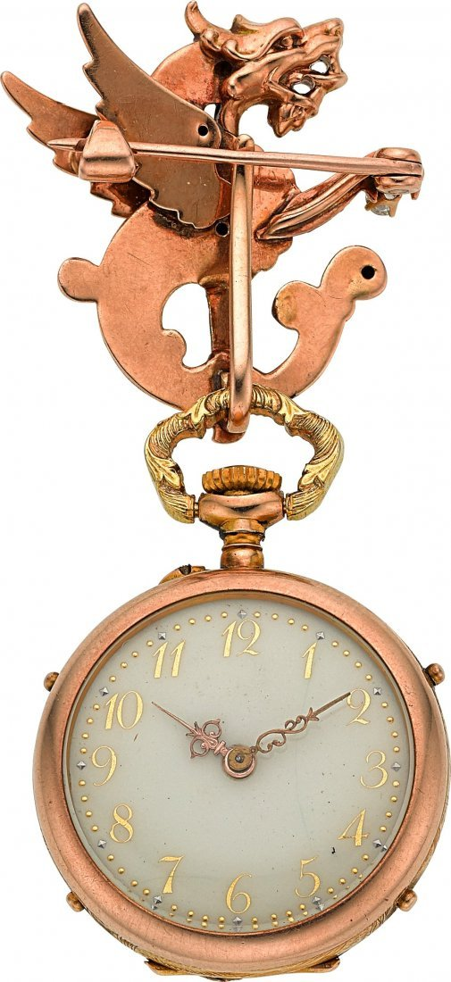 54077: Swiss Gold Art Nouveau Pendant Watch With Pin, c - 2