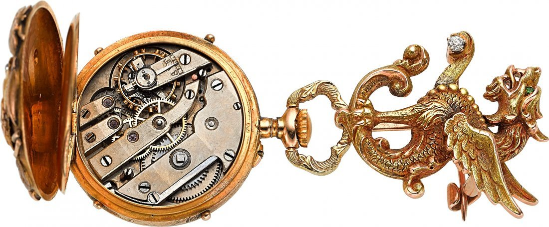54077: Swiss Gold Art Nouveau Pendant Watch With Pin, c - 3