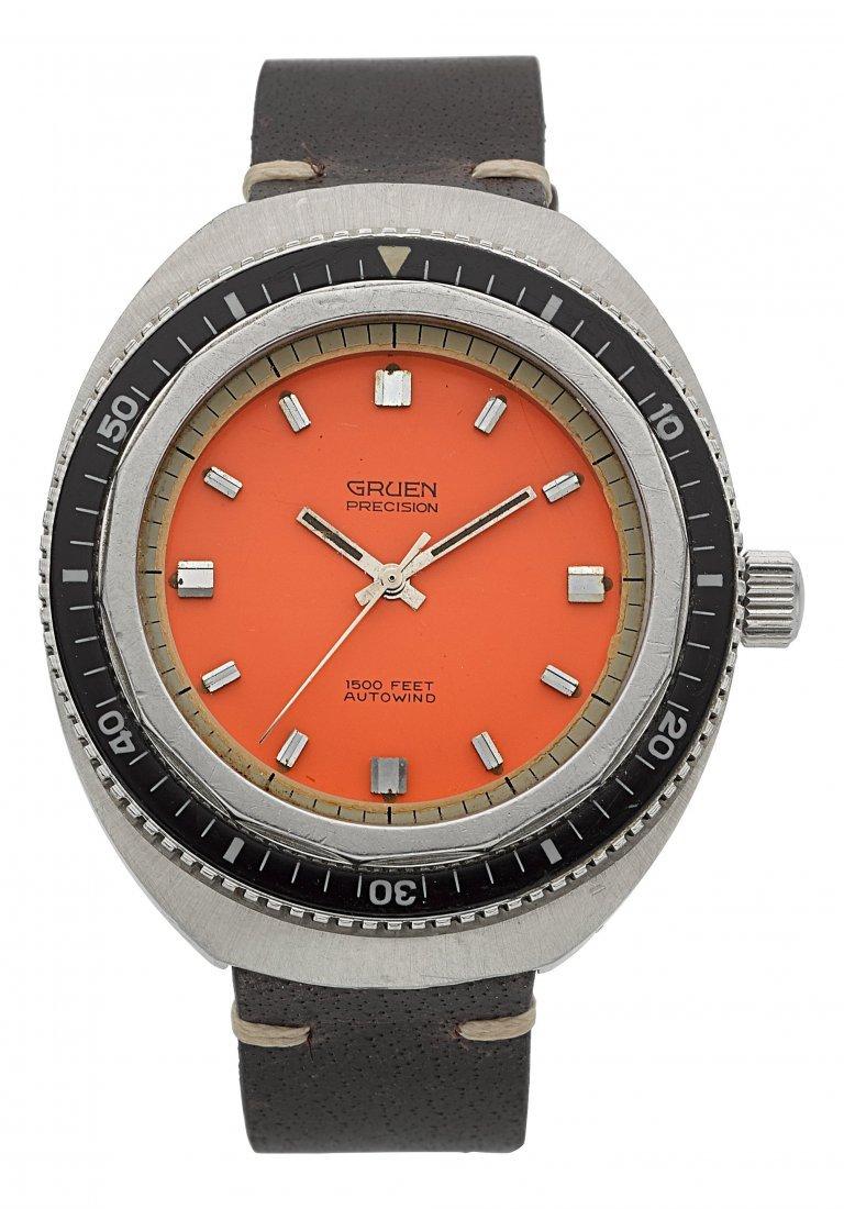 "54131: Gruen ""1500 Feet"" Steel Automatic Diver's Watch"