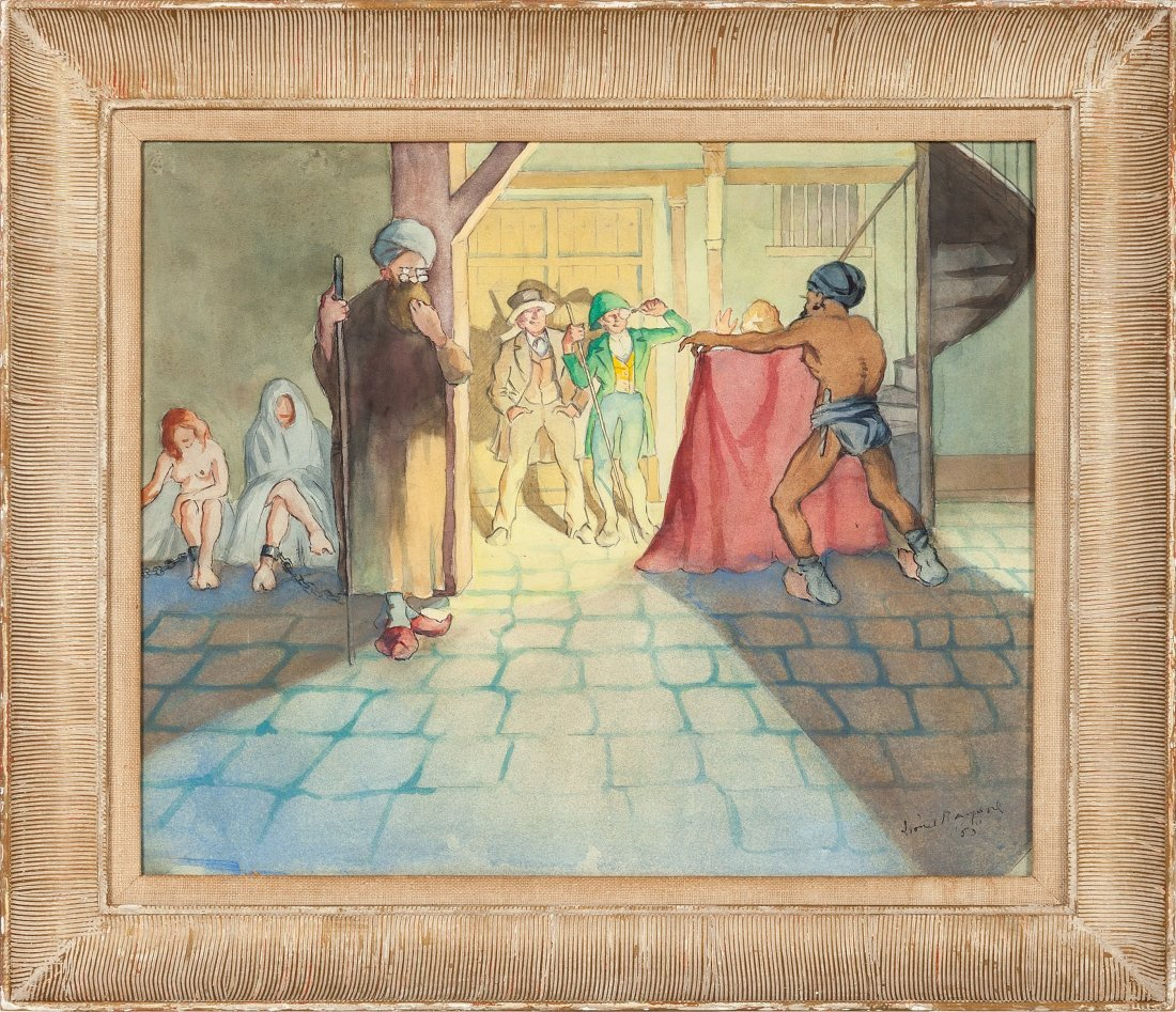 89131: A Lionel Barrymore Watercolor Painting, 1953. Re
