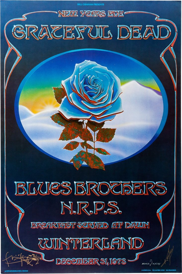 89254: Grateful Dead Winterland Blue Rose Concert Poste