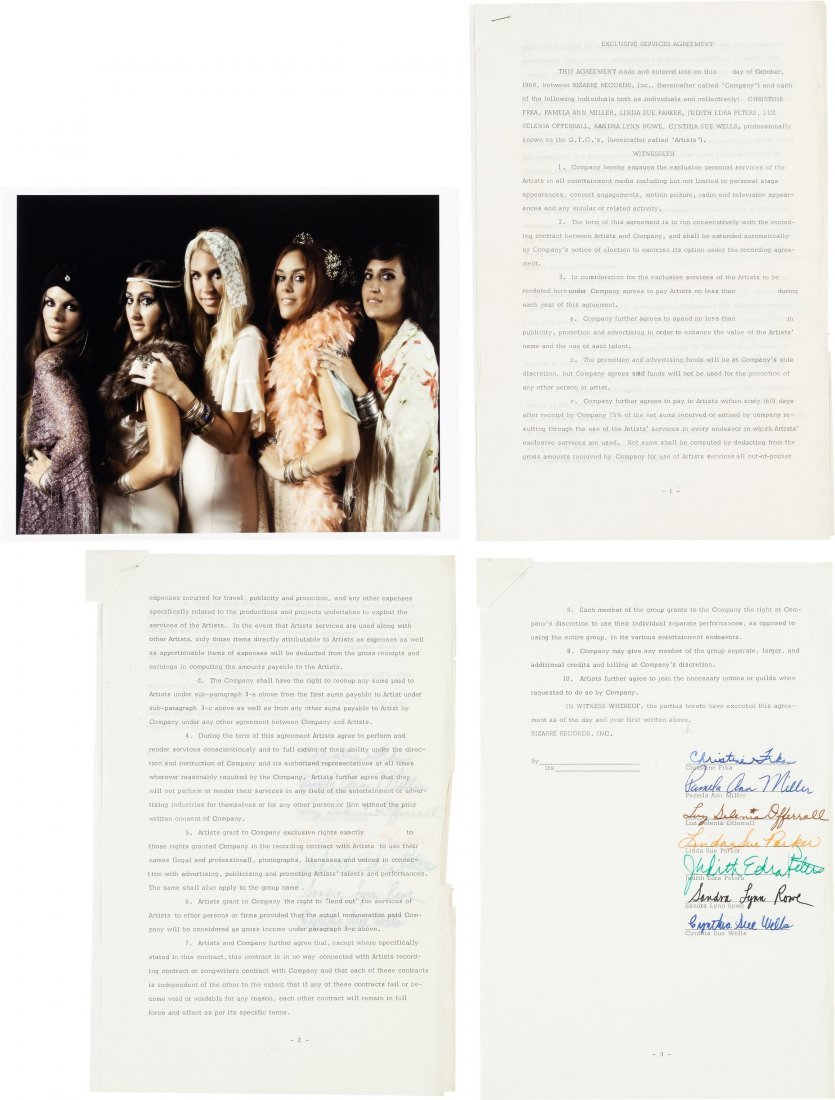 """89565: [Frank Zappa] GTOs Signed Contract (1968). A """"gr"""