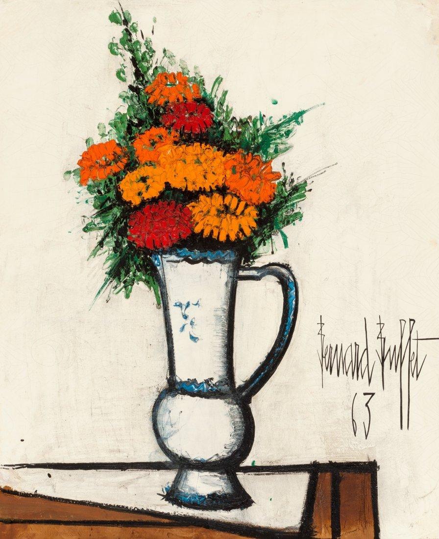 66014: Bernard Buffet (1928-1999) Bouquet de zinnias da