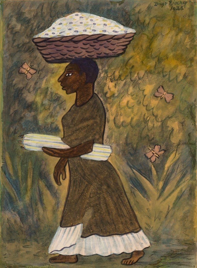 66017: Diego Rivera (1886-1957) Tehuana con velas y can