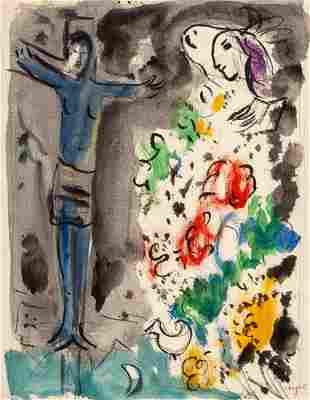66020: Marc Chagall (1887-1985) Le Christ bleu aux fleu