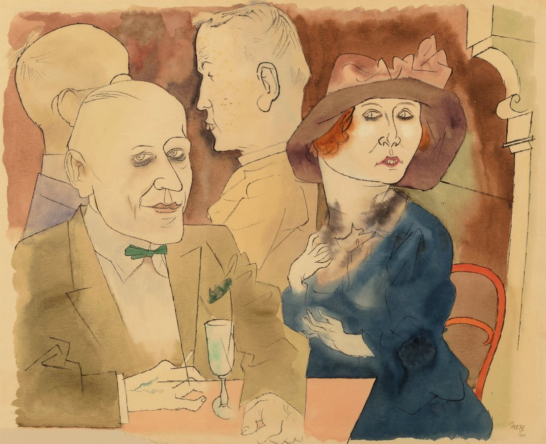 66007: George Grosz (1893-1959) Im Café (Seminude Woma