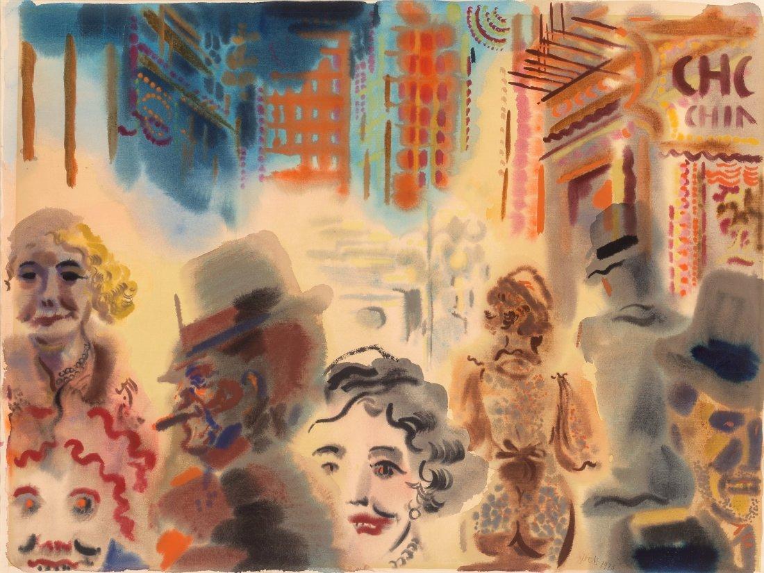 66008: George Grosz (1893-1959) Street Scene, Downtown