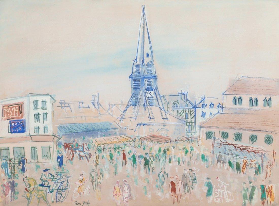 66012: Jean Dufy (1888-1964) Honfleur, Place Sainte-Cat