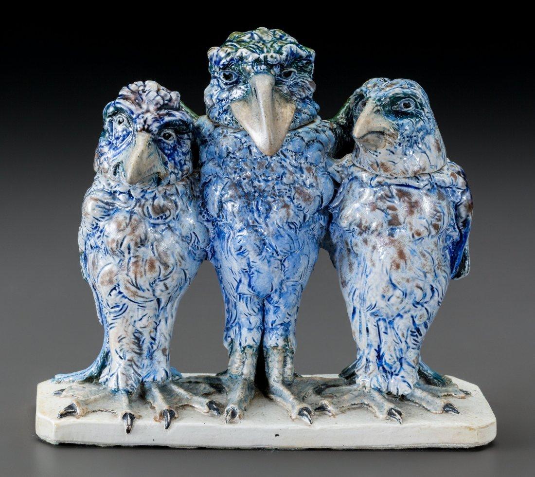 79005: Martin Brothers Glazed Stoneware Triple Wally Bi