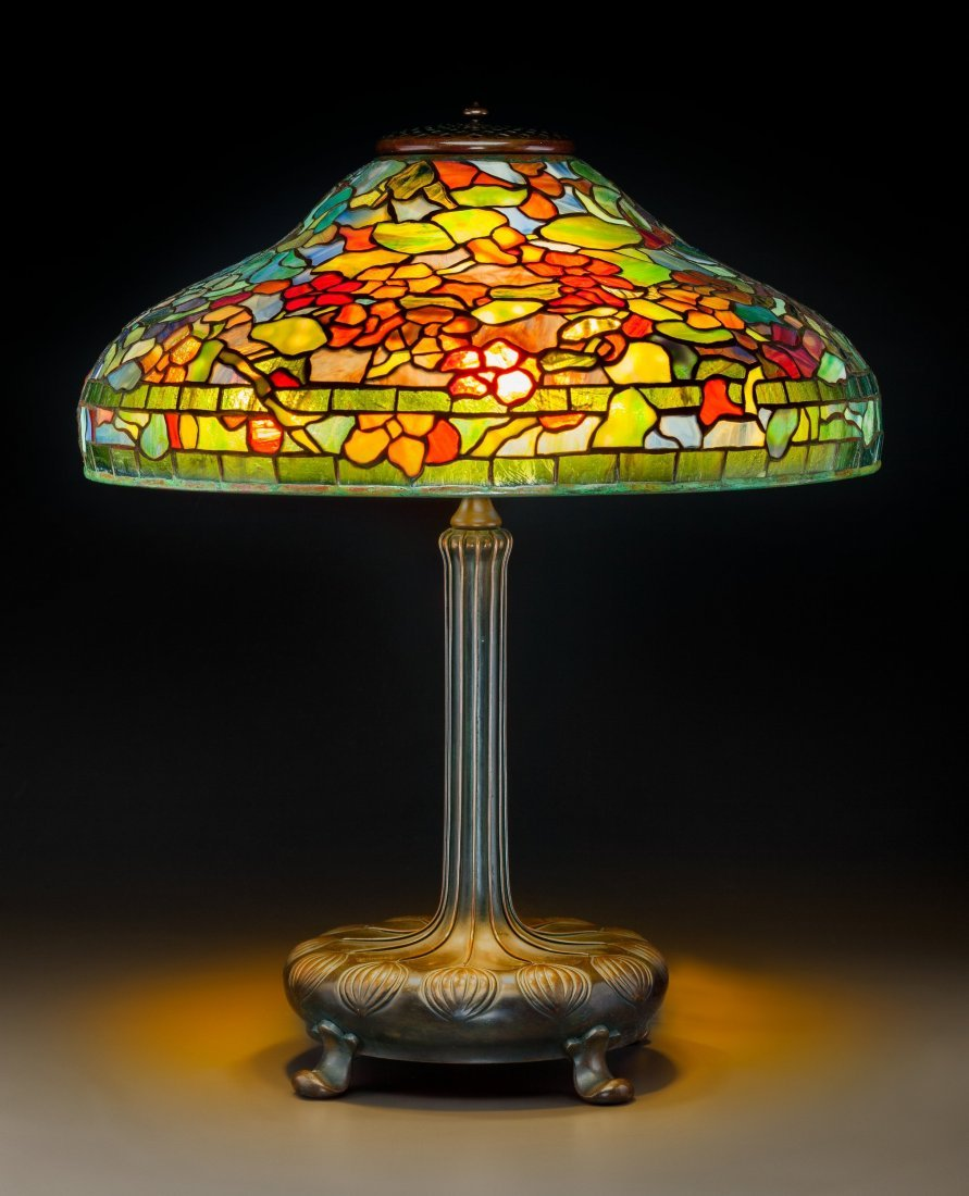 79016: Tiffany Studios Leaded Glass and Bronze Nasturti