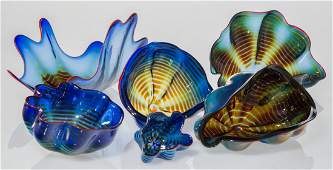 Dale Chihuly (American, b. 1941) Six-Piece Cobal