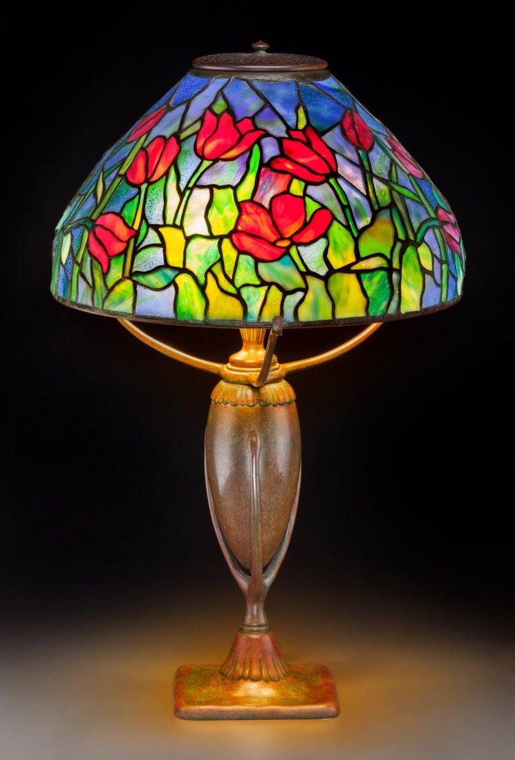 79017: Tiffany Studios Leaded Glass and Bronze Blue Tul