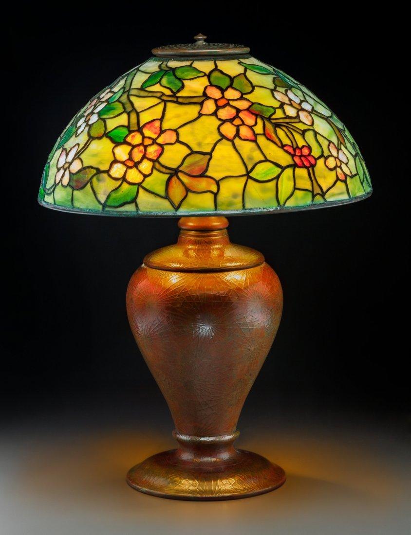 79018: Tiffany Studios Leaded Glass and Bronze Apple Bl