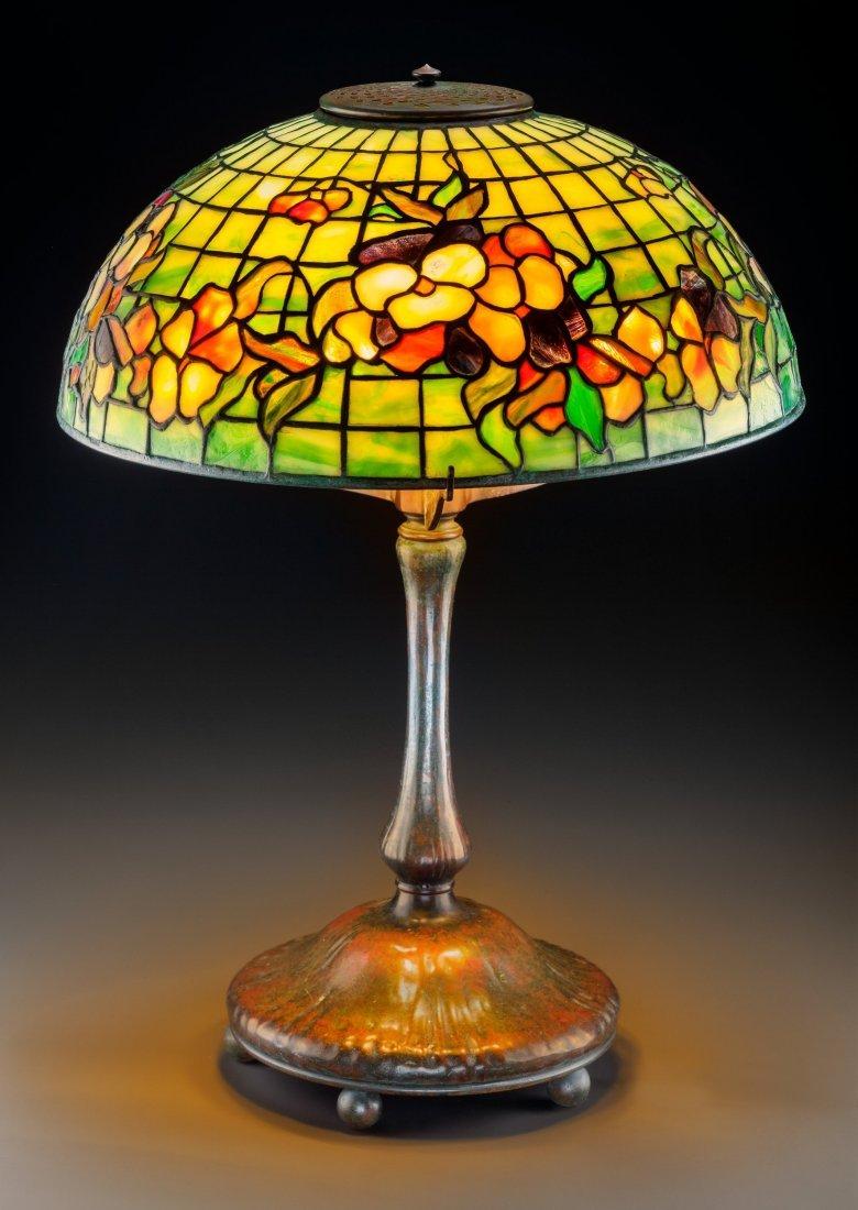 79019: Tiffany Studios Leaded Glass and Bronze Pansy Ta